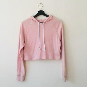 H&M   Pink Cropped Hooded Sweatshirt